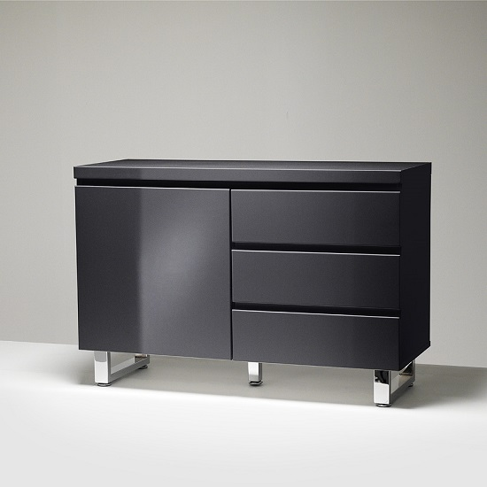 Sydney Small Sideboard In Gloss Black With 3 Drawers And 1 Door_2