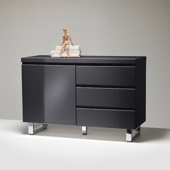 Sydney Small Sideboard In Gloss Black With 3 Drawers And 1 Door_3