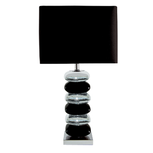 Pillow Stack Chrome and Black Table Lamp