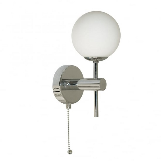 Globe Chrome Pull Cord Wall Lamp In Opal Glass Shape