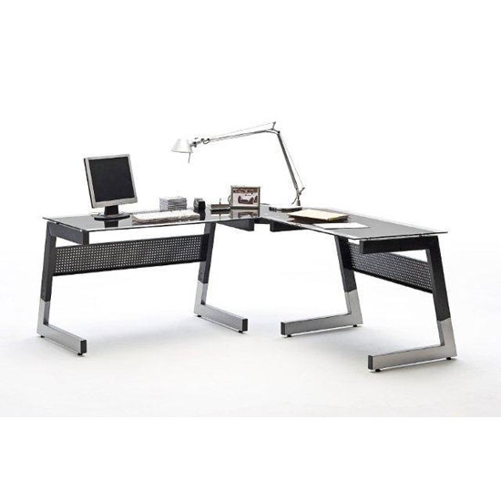 Mili Black And Clear Glass Corner Computer Desk With Metal