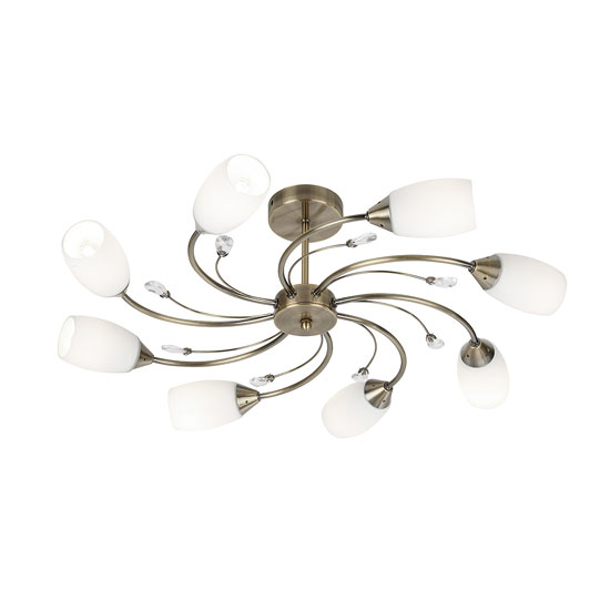 Electra 8 Lamp Antique Brass Ceiling Light With Opal Glass