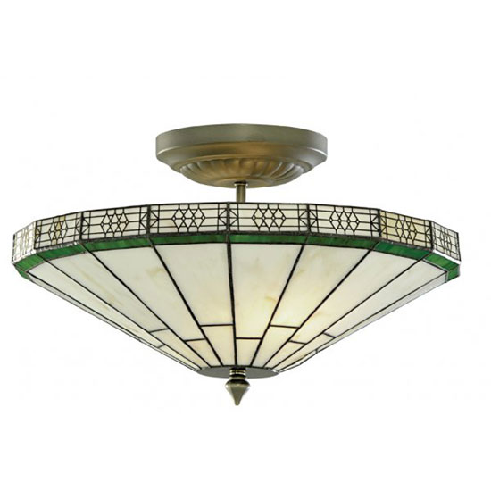 New York Hand Made Tiffany 2 Lamp Antique Brass Ceiling Light