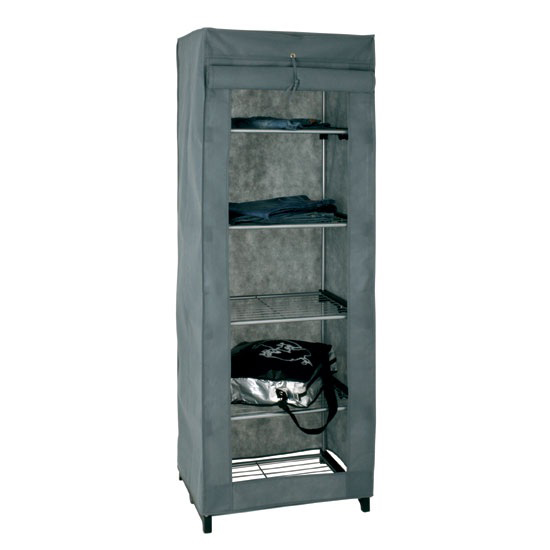 4 Tier Metal Shoe Rack With Material Cover In Grey