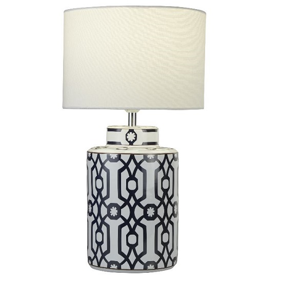 Ceramic Dark Blue brown And White Table Lamp_1