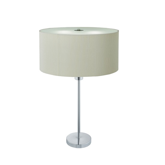 Drum Pleat Chrome Two Light Table Lamp With Cream Shade