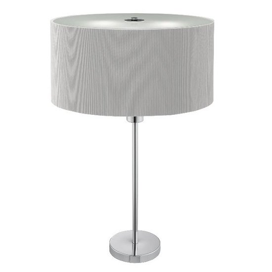 Drum Pleat Chrome Two Light Silver Shade Table Lamp