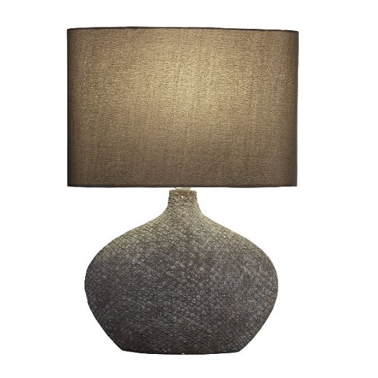 Ceramic Brown Matt Base With Brown Oval Drum Shade Table Lamp