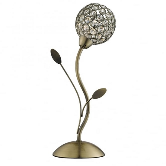 Bellis II Antique Brass Table Lamp With Clear Glass Shade