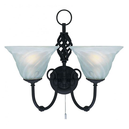 Cameroon 2 Lamp Black Finish Wall Light with Marble Glass Shades