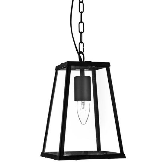 1 Light Tapered Black Lantern With Clear Glass
