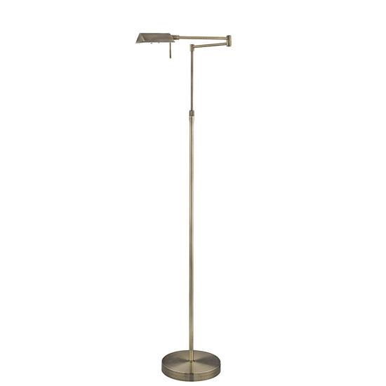 Apothecary 1 Light Antique Brass Swing Arm Floor Lamp