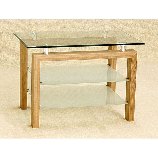 Adina Clear Glass TV Unit With Frosted Undershelf
