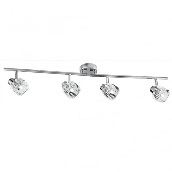 Triton Clear Glass Shades Chrome Bar Spotlight With Four Lamps