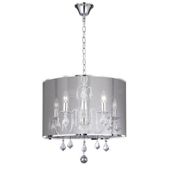 Olivia Chrome 5 Lamp Ceiling Pendant In Metalic Silver Shade