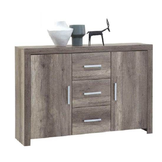 Country33 Wild Oak Finish 2 Door Sideboard With 3 Drawers