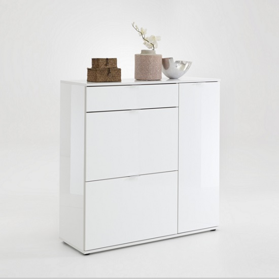 portino shoe cabinet in white gloss with 3 doors 27558. Black Bedroom Furniture Sets. Home Design Ideas
