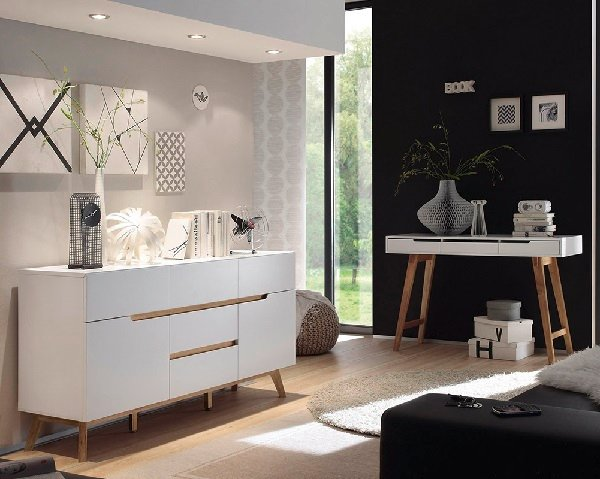 Merina Sideboard In Matt White And Oak With 2 Doors_6