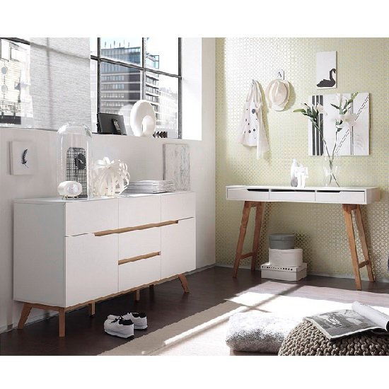 Merina Sideboard In Matt White And Oak With 2 Doors_5