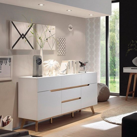 Merina Sideboard In Matt White And Oak With 2 Doors_1