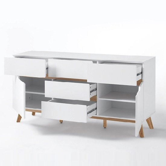 Merina Sideboard In Matt White And Oak With 2 Doors_2