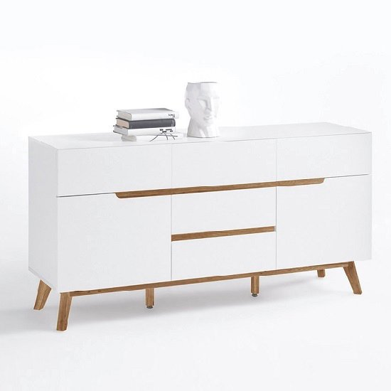 Merina Sideboard In Matt White And Oak With 2 Doors_3