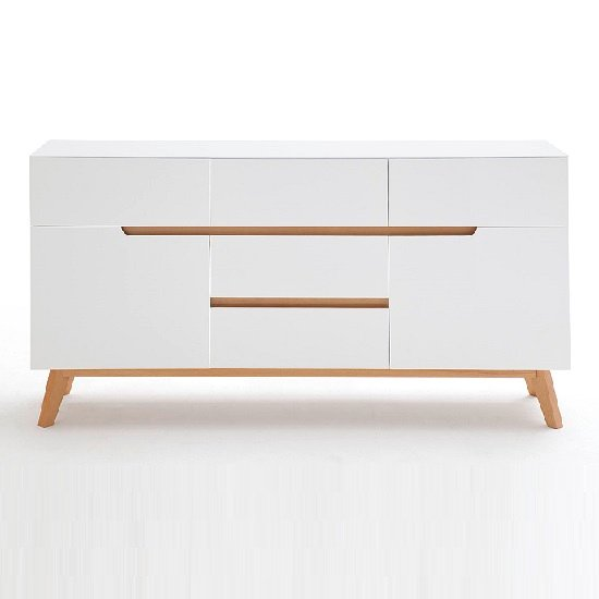 Merina Sideboard In Matt White And Oak With 2 Doors_4