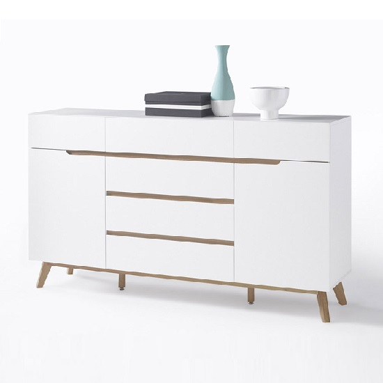 Merina Sideboard In Matt White And Oak With 6 Drawers And 2 Door_2