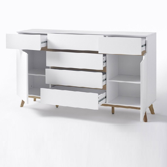 Merina Sideboard In Matt White And Oak With 6 Drawers And 2 Door_3