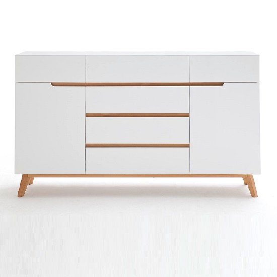 Merina Sideboard In Matt White And Oak With 6 Drawers And 2 Door_4