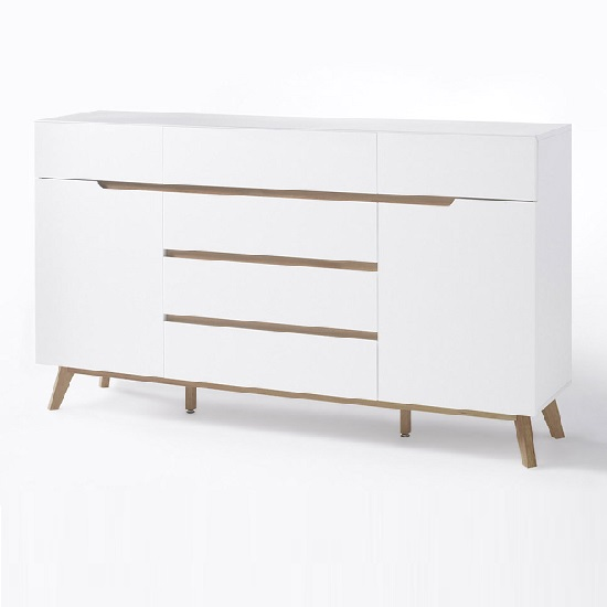 Merina Sideboard In Matt White And Oak With 6 Drawers And 2 Door_5