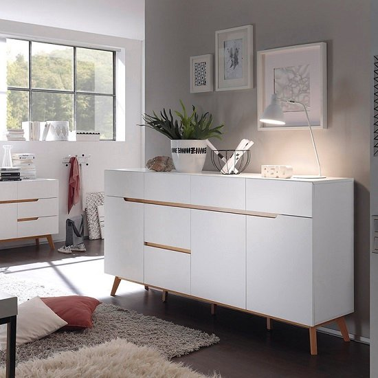 Merina Modern Sideboard In Matt White And Oak With 3 Doors_1