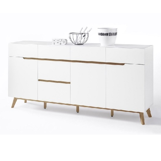 Merina Modern Sideboard In Matt White And Oak With 3 Doors_2