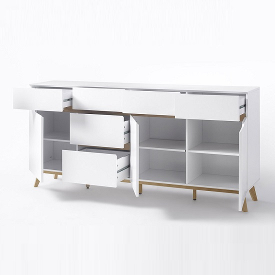 Merina Modern Sideboard In Matt White And Oak With 3 Doors_3