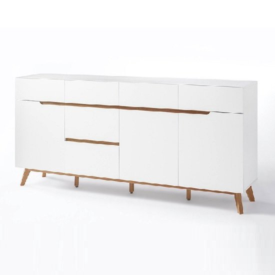 Merina Modern Sideboard In Matt White And Oak With 3 Doors_4