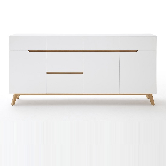 Merina Modern Sideboard In Matt White And Oak With 3 Doors_5