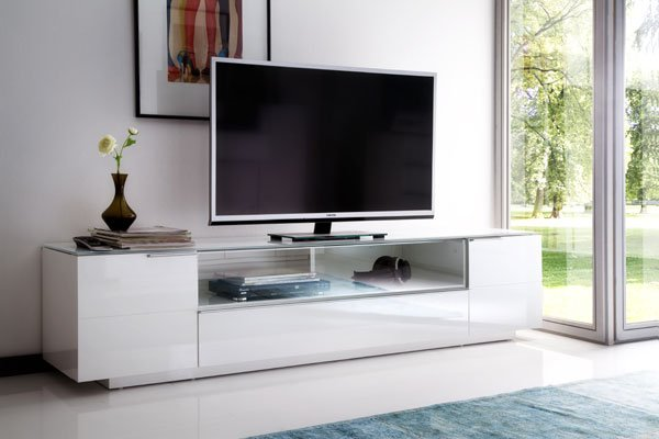 Canberra LCD TV Stand In Glass Top And White Gloss With 2 Door_5