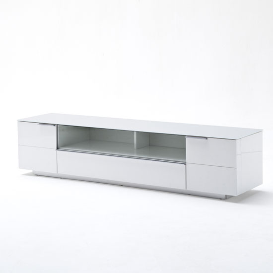 Canberra LCD TV Stand In Glass Top And White Gloss With 2 Door_2