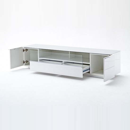 Canberra LCD TV Stand In Glass Top And White Gloss With 2 Door_3