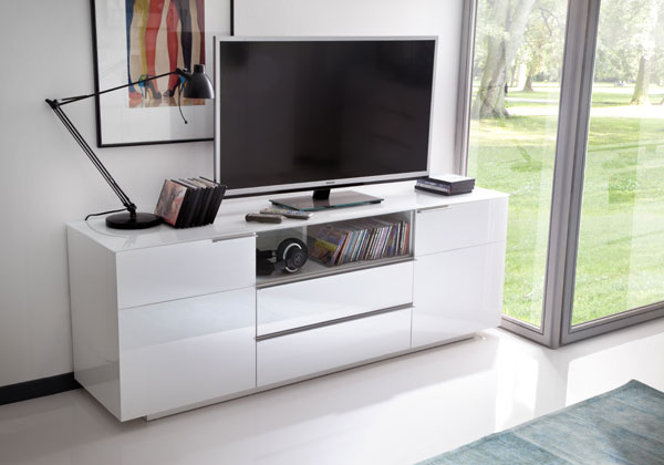 Canberra Sideboard TV Stand In White Glass Top And High Gloss_6