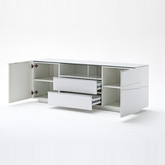 Canberra Sideboard TV Stand In White Glass Top And High -> Glass Tv Sideboard