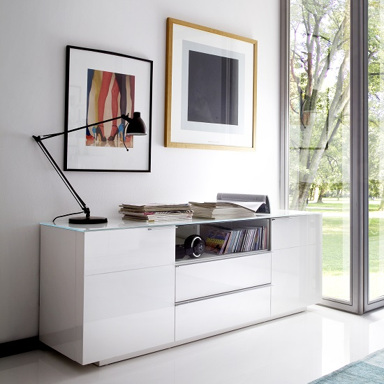 Canberra Sideboard TV Stand In White Glass Top And High Gloss_4