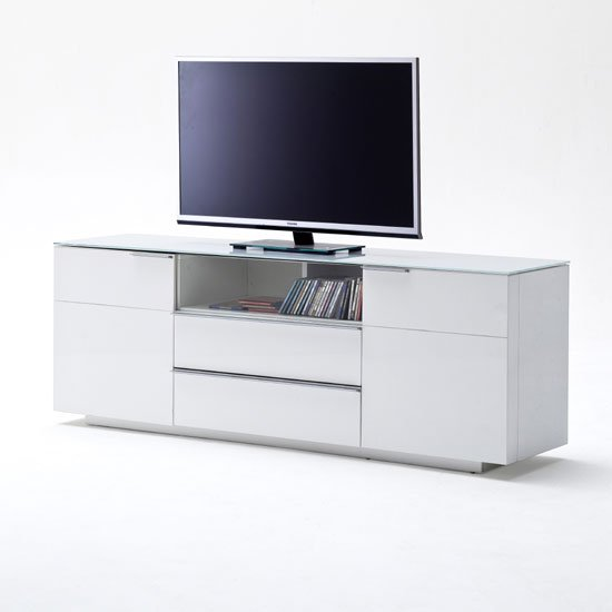 Canberra Sideboard TV Stand In White Glass Top And High # Glass Tv Sideboard