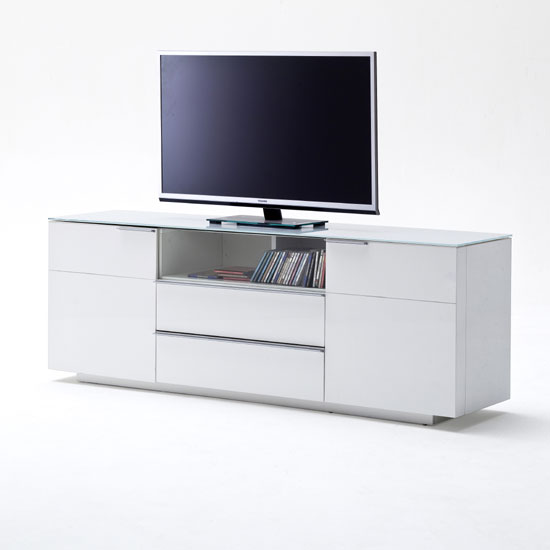 Canberra Sideboard TV Stand In White Glass Top And High Gloss_1