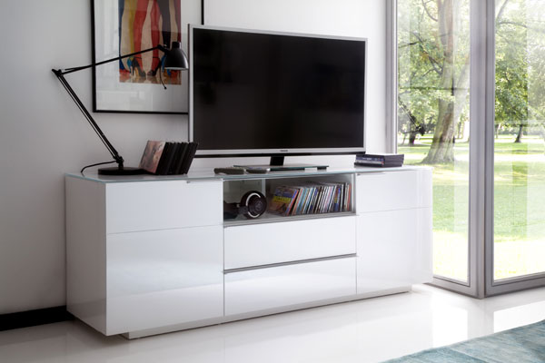 Canberra Sideboard TV Stand In White Glass Top And High Gloss_5
