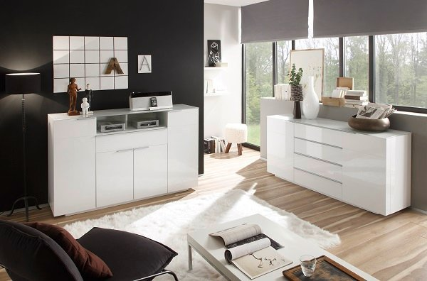 Canberra Sideboard In Glass Top And White High Gloss With 2 Door_5
