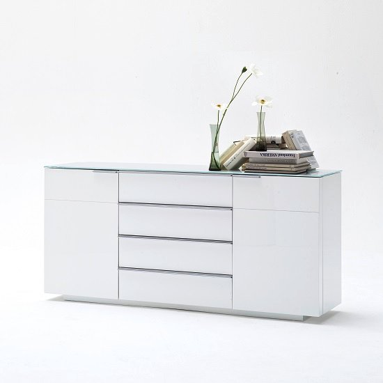 Canberra Sideboard In Glass Top And White High Gloss With 2 Door_1