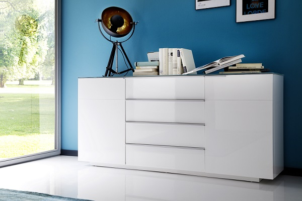 Canberra Sideboard In Glass Top And White High Gloss With 2 Door_4