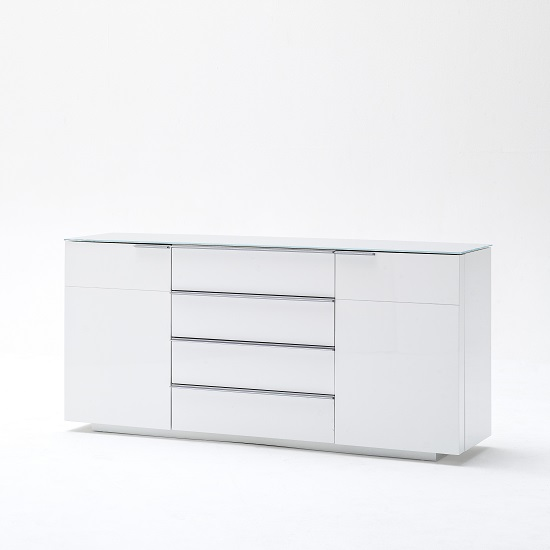 Canberra Sideboard In Glass Top And White High Gloss With 2 Door_2