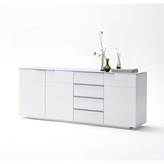 Canberra Sideboard In Glass Top And White High Gloss With 3 Door_1